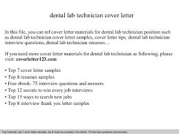 Gallery Of Dental Lab Technician Cover Letter Dental Technician
