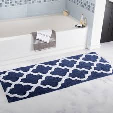 long trellis extra long bath rug designs blue white color creative bathroom mats and rugs designs