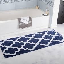 long trellis extra long bath rug designs blue white color creative bathroom mats and rugs designs