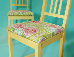 retro kitchen chair cushions vintage style print yellow painted chair