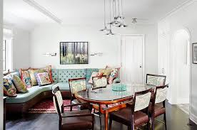 banquette dining room furniture. Chicago Banquette Dining Room Furniture With Landscape Prints And Posters Traditional Colorful Accents Wood Flooring