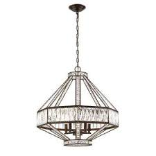 bellezza collection 5 light bronze chandelier with crystal shade