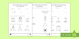 Ruled lines, short vowel sounds, consonant digraphs, and words to copy. Long I Sound Rise And Shine Phonics Worksheets Ela Twinkl
