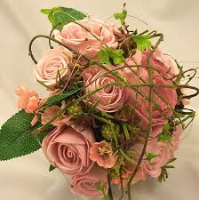 pink mixed rose twigs posy bouquet