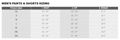 Adidas Men S Size Chart Pants