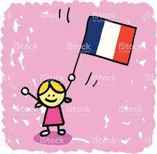 Enfants Dessin Anim Avec Drapeau De La France Stock Vecteur