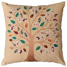 Designer Decorative Pillows For Couch Beige Tree of Life Decorative Pillow Cover Cotton Applique Work 99