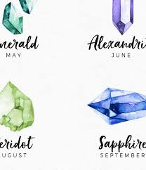 Birthstone Crystals Chart Birthstone Chart Print Crystal And Gems Print Printable Crystal Art Watercolor Crystals Gemstone Wall Art Birthstone Poster