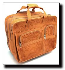 ropin west leather hand tooled rolling office briefcase 4824