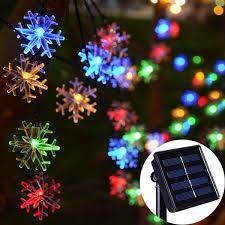Snowflake Solar Christmas Lights Amazon Com Chasgo 30ft 50 Led Solar Snowflake Lights