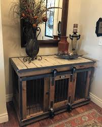 dog crates as furniture. Farmhouse Style Single Dog Kennel By And Crate! Barn Door Rollin\u0027 That Can Remain Wide Opened For Those Don\u0027t Like To Close Up Their Pets! Crates As Furniture U