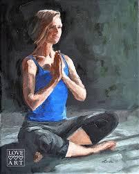original yoga painting omwoman yoga meditate. Art Print Of Original Yoga Oil Painting: Meditation II Painting Omwoman Meditate