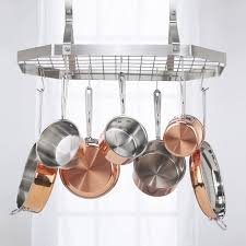 Kitchen Pot Rack The Gourmet Rectangle Kitchen Pot Rack With Grid Pot Racks At