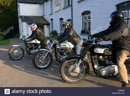 classic motorbikes outside the bell at skenfrith pub uk norton