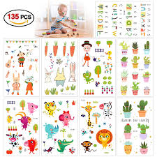 Temporary Tattoos For Kids135pcs Konsait Animal Zoo Flower Plant Letter Cartoon Assorted Tattoo Stickers For Children Girls Boys Great Kids Party