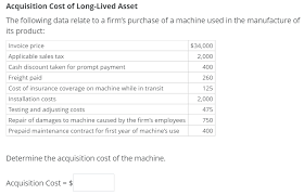 Invoice Price Solved Acquisition Cost Of Long Lived Asset The Following