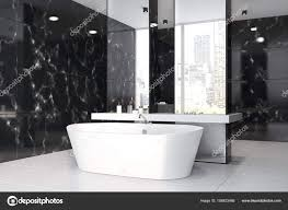 marble bathroom sink. Black Marble Bathroom Interior With A Concrete Floor, Double Sink, Tub And Two Mirrors On Columns. Side View. 3d Rendering Mock Up \u2014 Photo By Sink
