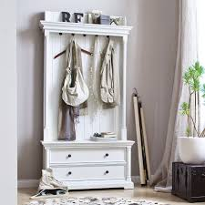 Novasolo Halifax Entryway Coat Rack And Bench Unit Classy Provence White Hall Tree By NovaSolo Hygge Home