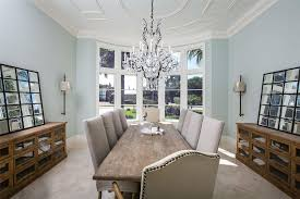 stunning traditional dining room with pottery barn ruby crystal chandelier restoration hardware hampton casement glass sideboard with pottery barn