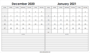 Blank Dec 2020 Calendar Print December 2020 January 2021 Calendar Template 2 Month