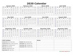 Printable Calendars 2020 With Holidays 2020 Printable Calendar Free Calendar Image 2019