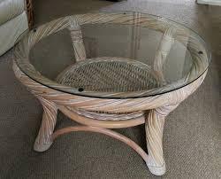 round cane coffee table w glass top 76cm x 41cm