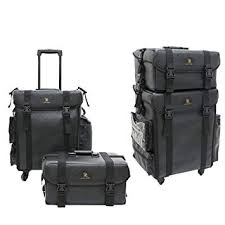 super 2 in 1 rolling makeup train case professional soft sided leather trolley makeup artist