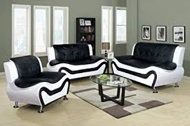 Black and white chairs living room Ikea Beverly Fine Furniture F45013pc Piece Aldo Modern Sofa Set Blackwhite Amazoncom Amazoncom Beverly Fine Furniture F45013pc Piece Aldo Modern