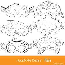 Small Picture Fish Printable Coloring Masks clownfish mask blue tang starfish