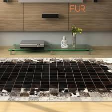 reduced patchwork cowhide rug k 1783 mosaik black brown white