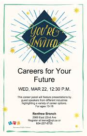 careers for your future vancouver public library career title spring break career fair for teens 13 18