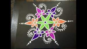 simple flower rangoli design with beautiful c