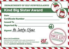 christmas certificates templates christmas reward chart printable certificate elf for christmas