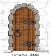 old wooden vine doors with stones csp37870566