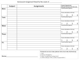 Work Assignment Schedule Template Weekly Homework Assignment