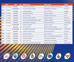 Vivo Ipl 2019 Time Table Vivo Ipl 2019 Full Schedule Vivo