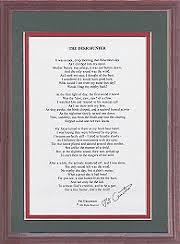 framed poem green red