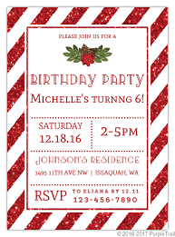 Christmas Inviations Striped Red Glitter Christmas Birthday Party Invitation