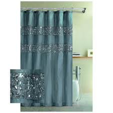 Blue Rug On White Tile Floor Hookless Fabric Shower Curtain Brown ...
