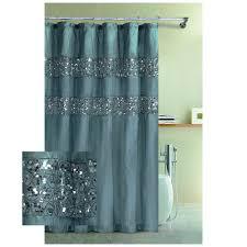 blue rug on white tile floor hookless fabric shower curtain brown steel bar poles added white fabric shower curtains leaves pattern mixed