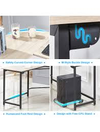 L shaped desk home office Vintage Modern Lshaped Desk Corner Computer Desk Home Office Study Workstation Wood Steel Pc Select The Best Furniture For You Gaming Table