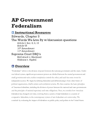 ap government federalism instructional resources edwards