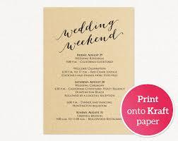 Wedding Insert Templates Wedding Weekend Itinerary Card Wedding Templates And