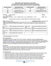 S15syllabus 2000 6 Buad 2000 Career Development I Spring 2015 The