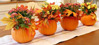 four pumpkin centerpieces