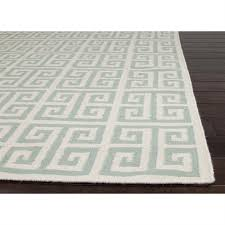 picture of jaipur urban bungalow flat weave geometric pattern wool ivory blue rug
