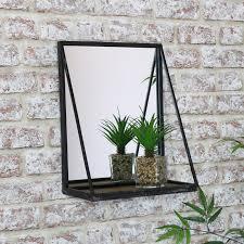 black wall mirror with shelf 29cm x 38cm