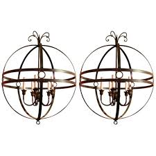 pair of italian 20th century mid century modern hand wrought iron sphere five lights chandelier