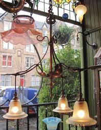 chandeliers copper three light arts crafts