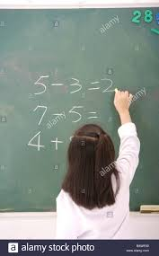 girl solving mathematical equation on blackboard rear view